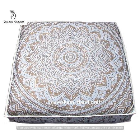 Indian Floor Pouf Ottoman, Dog Bed, Boho Mandala Cushion ...