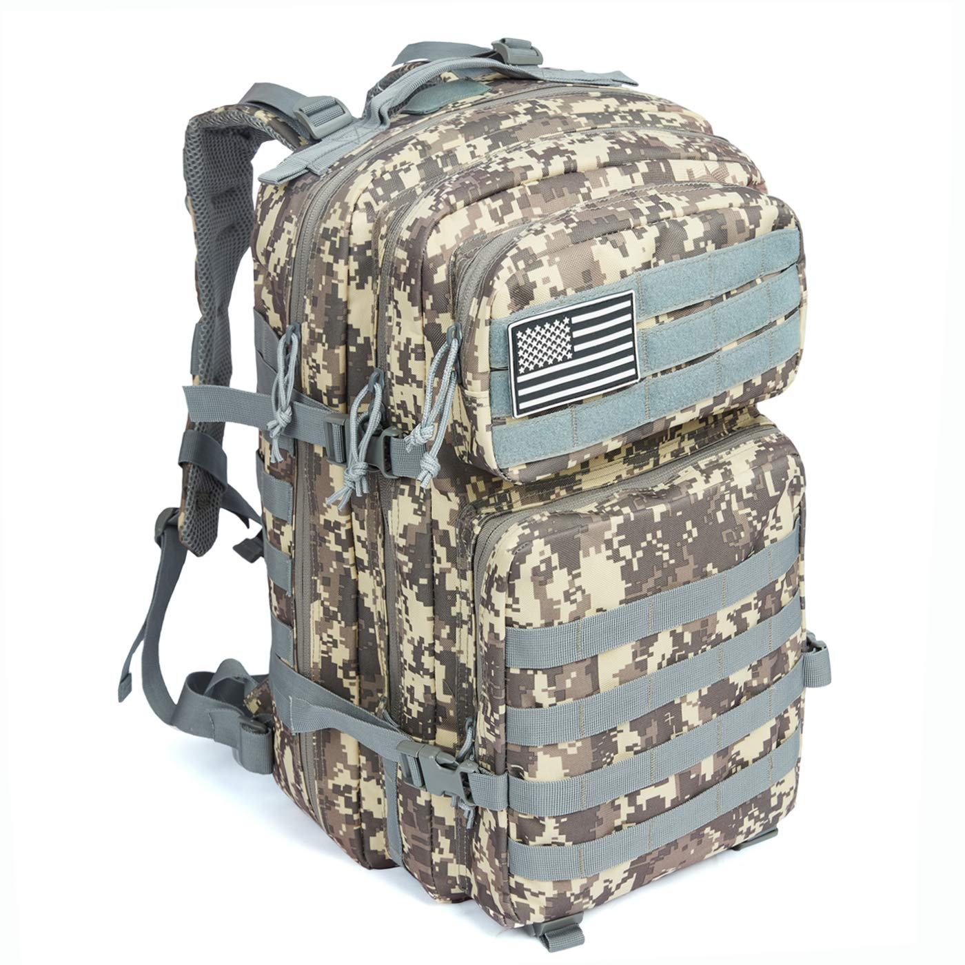 MEWAY 42L Military Tactical Backpack Large Assault Pack 3 Day Army Rucksacks Molle Bag Outdoors Hiking Daypack Hunting Backpacks (New-ACU)