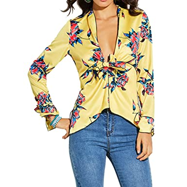 5273ccbbc25270 Tops Yellow Floral Print Blouse Shirts Deep V Neck Stain Silk Elegant Casual