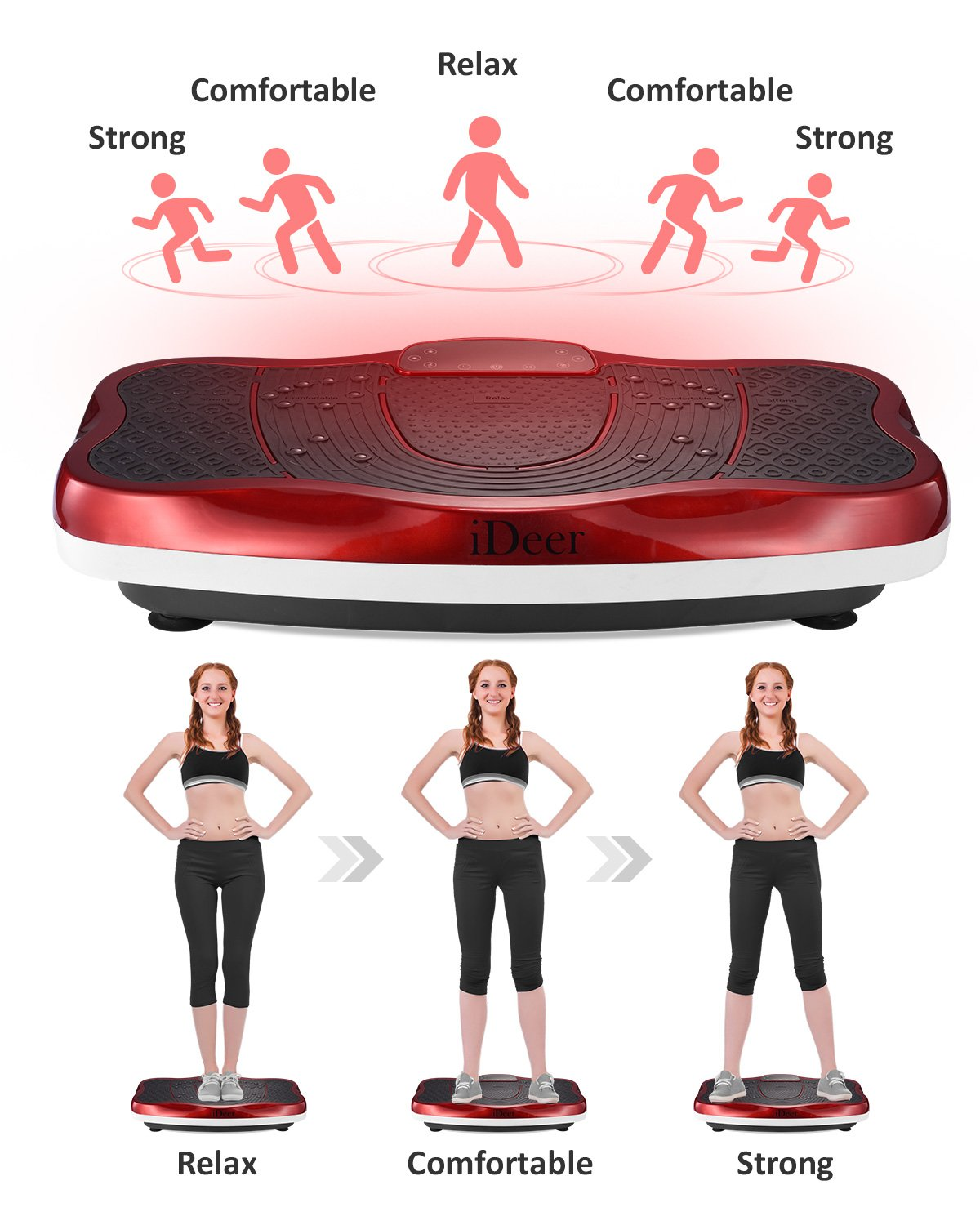 iDeer Vibration Platform Fitness Vibration Plates,Whole Body Vibration Exercise Machine w/Remote Control &Bands,Anti-Slip Fit Massage Workout Vibration Trainer Max User Weight 330lbs (Red09006) by IDEER LIFE (Image #2)