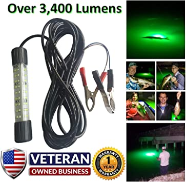 "5630 led 10` cord-alligator clips Green Led night fishing  light 24/"" 4 amp"