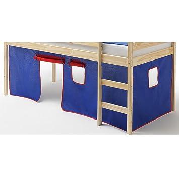 en Coton 4 Couleurs Rouge Vert Bleu et Jaune IDIMEX Rideaux Erik pour lit superpos/é ou lit sur/élev/é cabane Tente