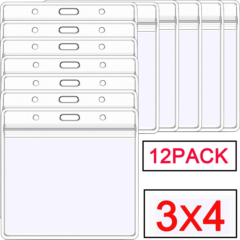 2 Large 3x4 ID Horizontal Badge Plastic Holder Zip Lock Zipper ID Card NEW