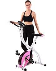 pleny Foldable Fitness Exercise Bike with 16 Level Resistance, Hand Pulse
