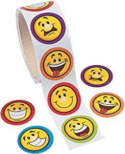 Fun Express Goofy Smile Face Sticker Rolls. (100 Stickers Per Roll, Shrink-Wrapped)