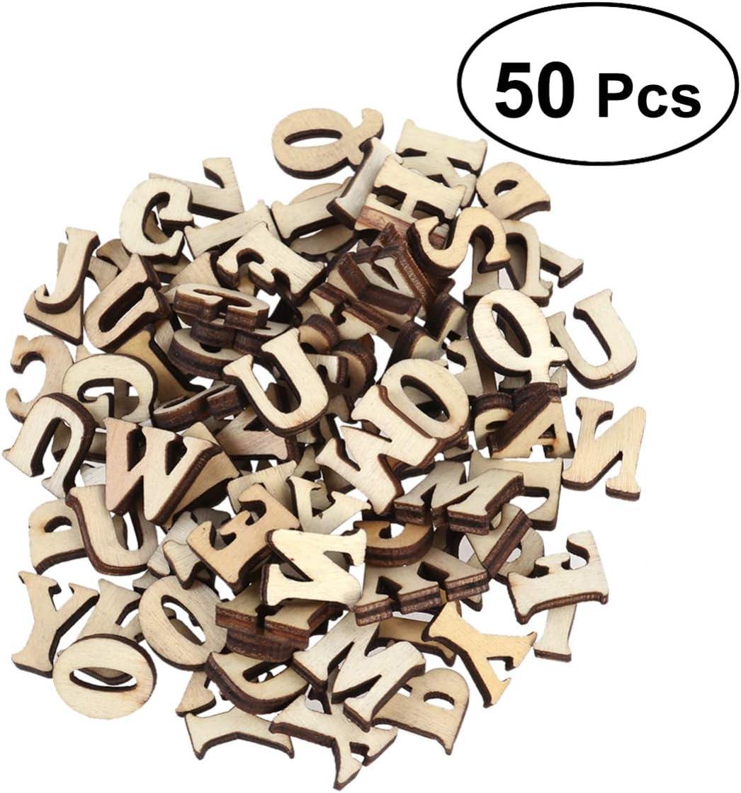 Healifty 50pcs unvollendete h/ölzerne Alphabet-Gro/ßbuchstaben f/ür das Malen das DIY Handwerkshauptdekor unterrichtet