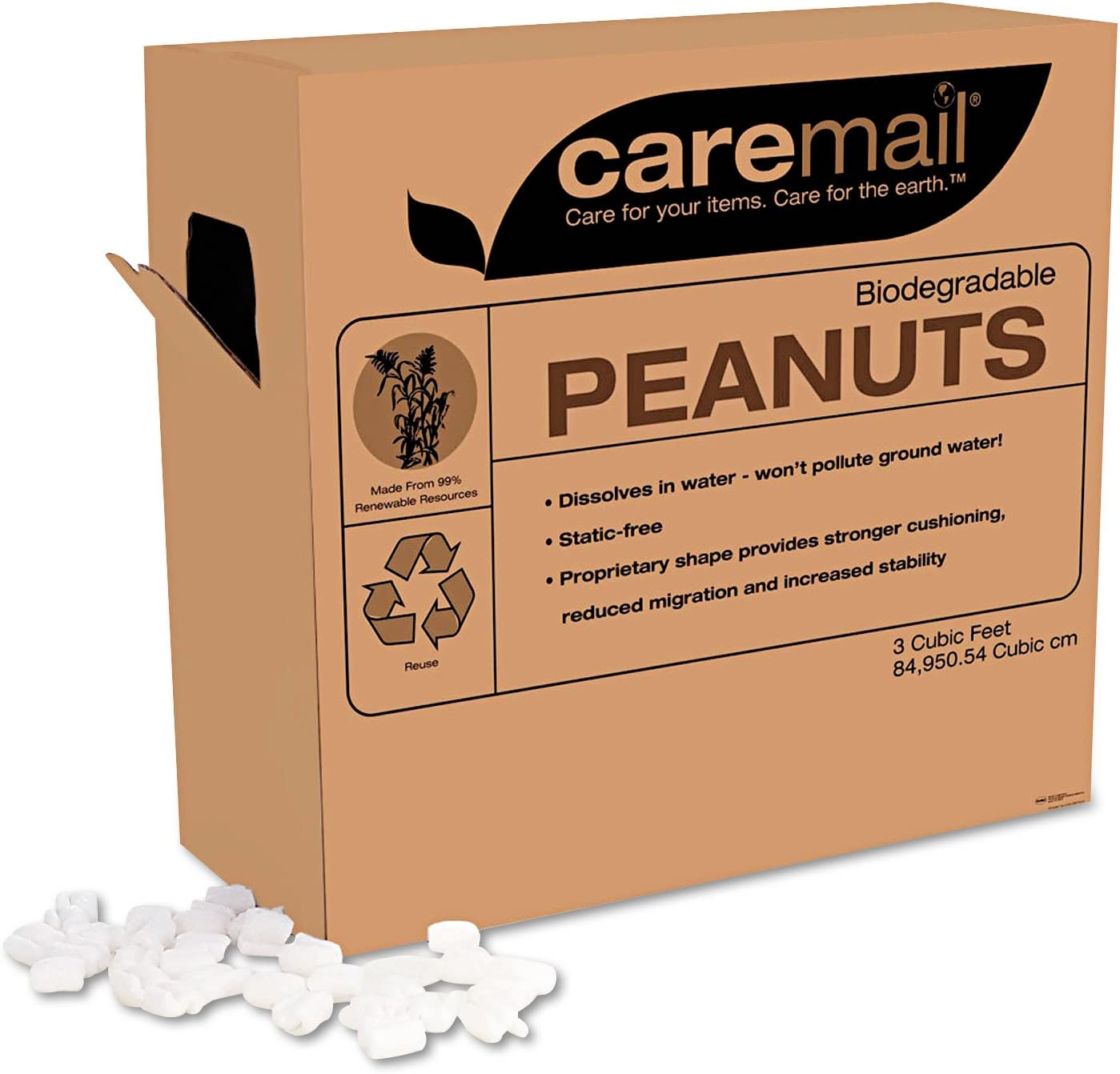 Caremail - Packing Peanuts, 3 Cubic Feet, Biodegradable, White ...
