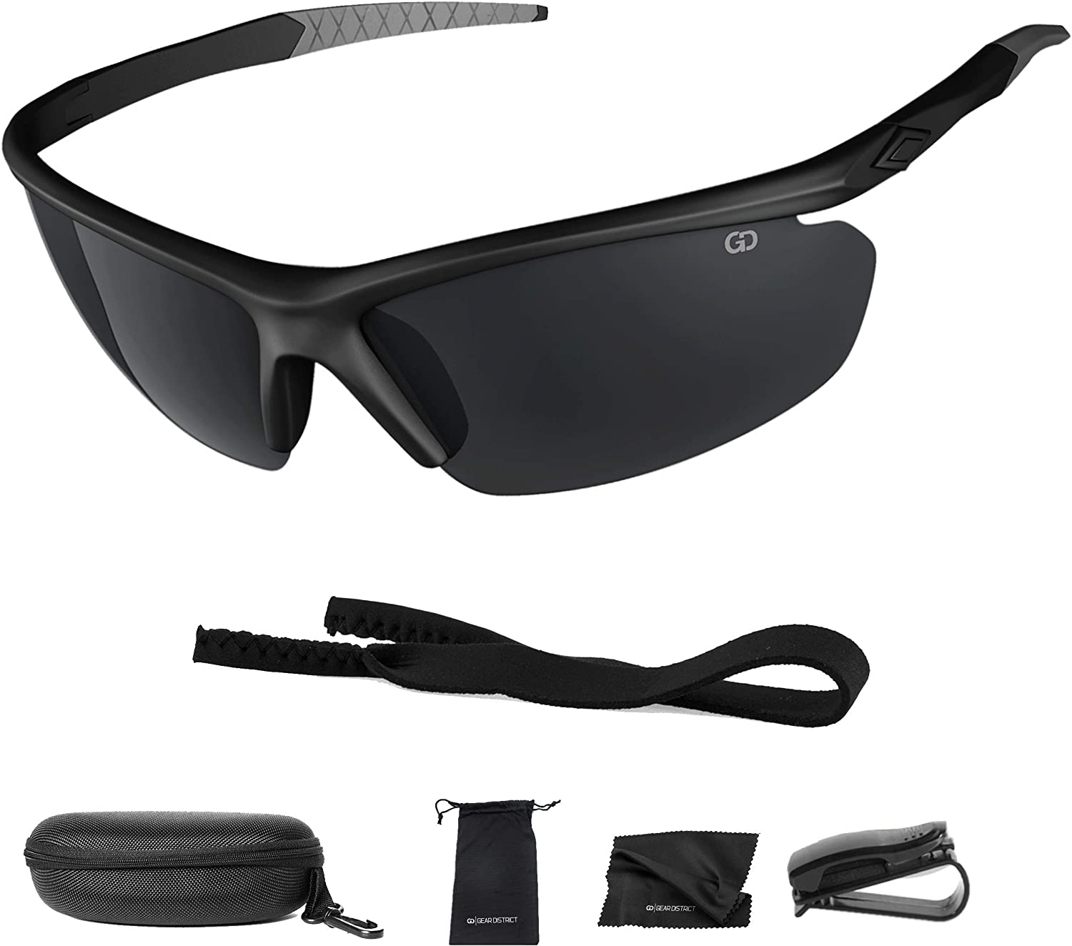 Polarized UV400 Sport Sunglasses Anti-Fog Ideal for Driving or Sports Activity (Black, Grey): Clothing