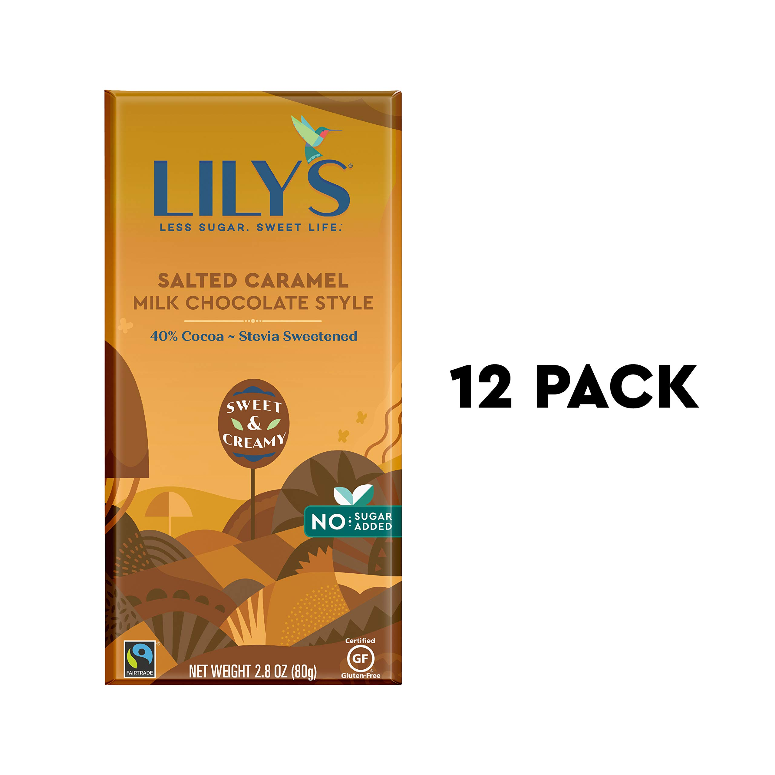 Caramelized & Salted Milk Chocolate Bar by Lily's Sweets | Stevia Sweetened, No Added Sugar, Low-Carb, Keto Friendly | 40% Cacao | Fair Trade, Gluten-Free & Non-GMO | 2.8 ounce, 12-Pack by Lily`s Sweets