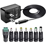 SoulBay 12V 1A AC Adapter Charger Replacement w/8 Tips, Regulated Power Supply Cord for LED Strip Light, CCTV Camera, BT…