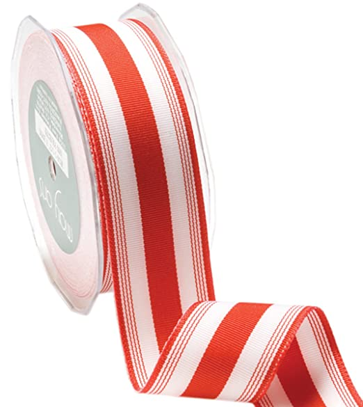 Christmas Tablescape Decor - Red & White Stripe Grosgrain Ribbon