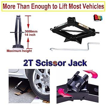 Gato tijera 2 toneladas Jack con velocidad mango para coche Van Wind Up Lift tomas 1.4 pulgadas 360 mm Altura acero inoxidable: Amazon.es: Coche y moto
