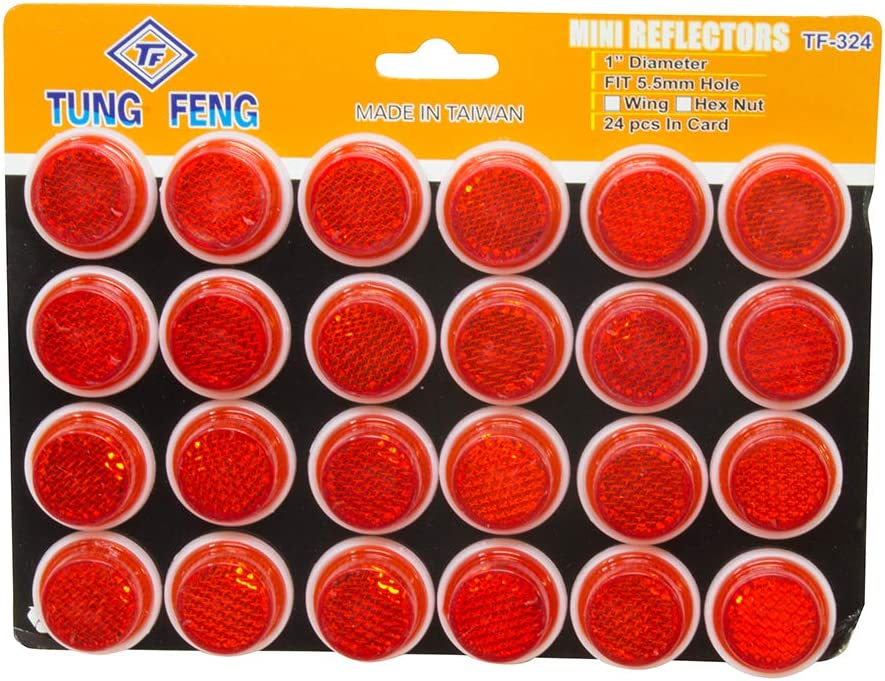 "Bike Bicycle Safety NEW SET OF 24 SUNLITE 1/"" Mini Red Reflectors w// Wing Nut"