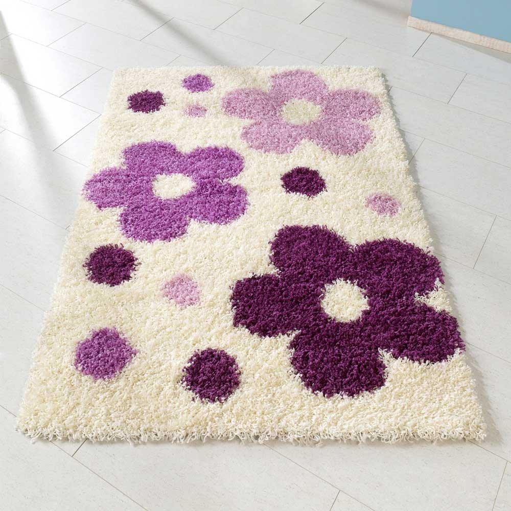 Pharao24 Hochflor Teppich mit Blumen Muster Weiß Lila