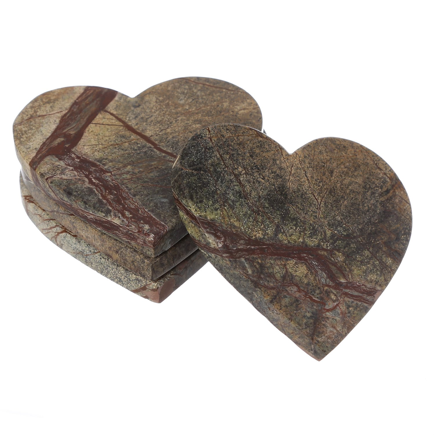 Shalinindia Handmade Love Heart Shape Marble Stone Tea Coasters Set of 4 for drink Size- 4X4X0.75 Inch Cocktail Coffee Dinning Table- Artisan Crafted In India (Brown Forest)
