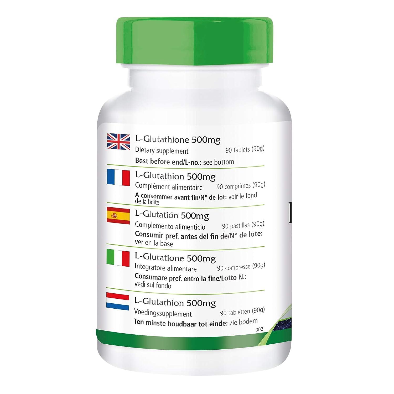 L-Glutation 500mg - A GRANEL durante 3 meses - vegano - ALTA DOSIS - 90 tabletas: Amazon.es: Salud y cuidado personal