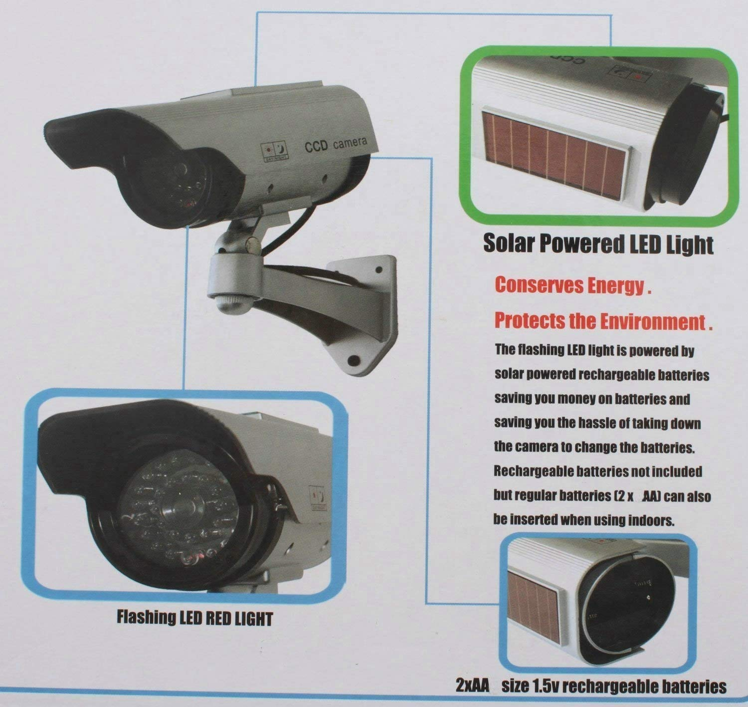 BW Solar Power Fake Outdoor Dummy Security Home CCTV Camera LED Light  Waterproof