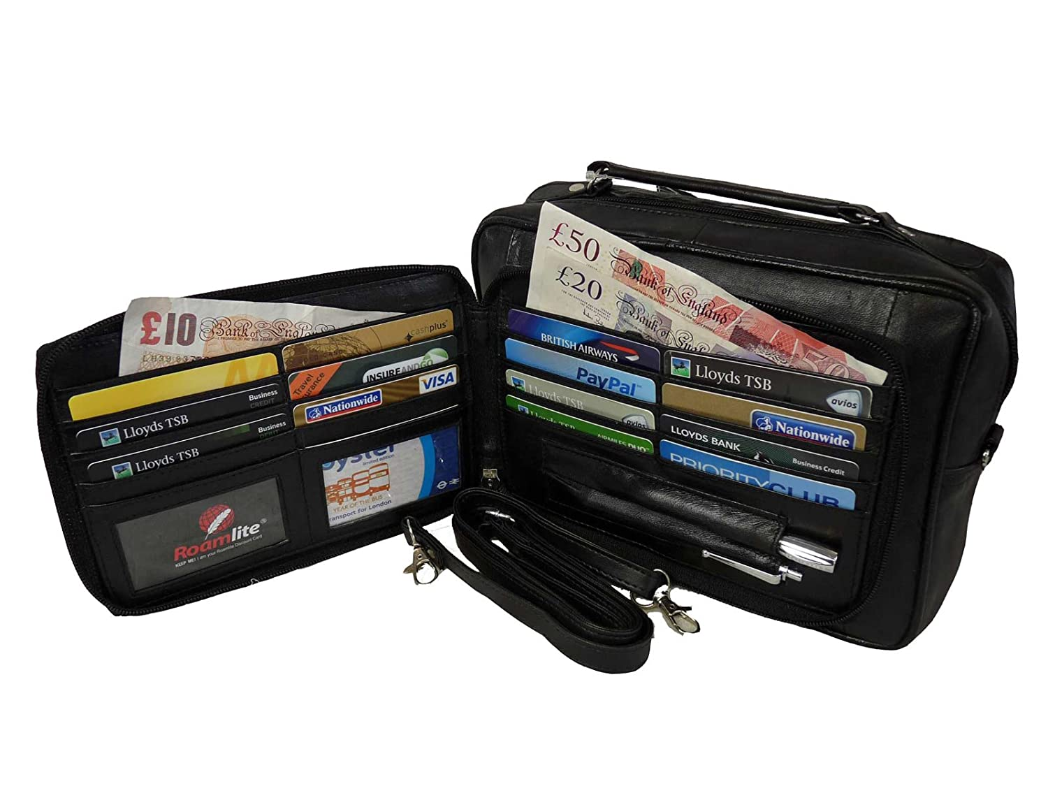 Mens Mans Leather Travel Organiser Bag - Holiday Utility Bags ...