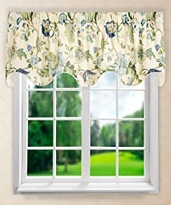 Ellis Curtain Brissac Lined Scallop Valance, 70 x 17, Blue