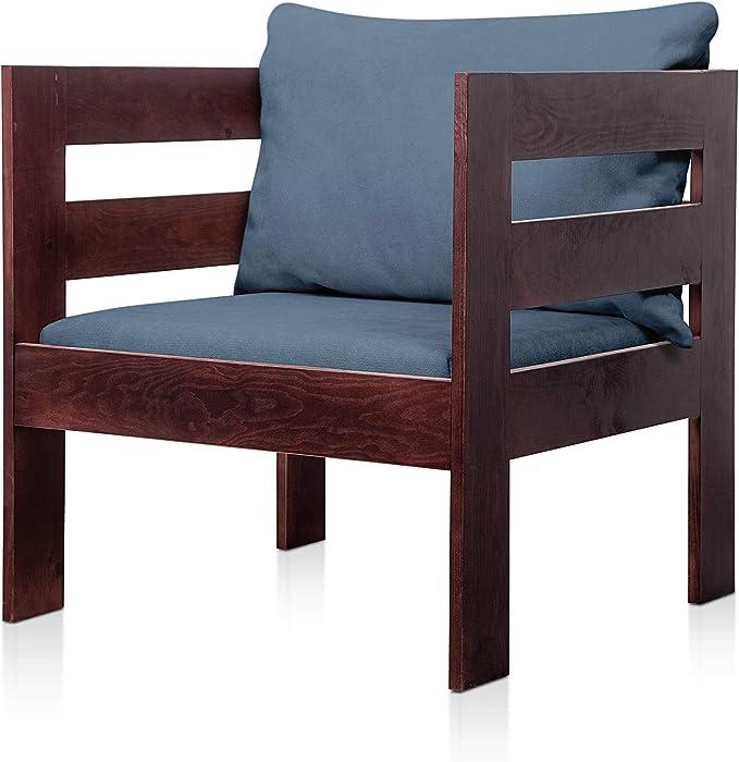 SUENOSZZZ - Sofa Jardin de Madera de Pino Color Nogal, MEDITERRANEO Mod. sillón, Sillon cojín Tela Color Azul. Muebles Jardin Exterior. Silla para Patio y terraza. Sofas PALETS/Palet: Amazon.es: Jardín