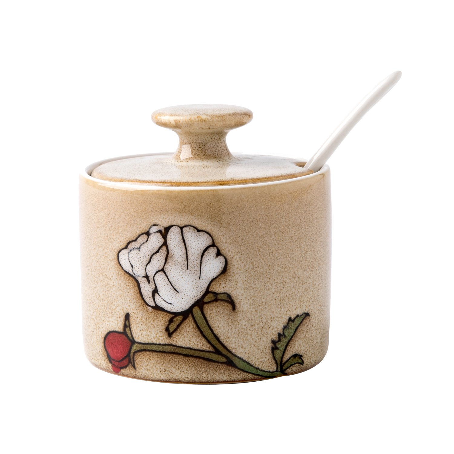 Verdental Flower Pattern 9.2 OZ Ceramic Salt and Spice Storage Seasoning Cans with Lid and Spoon (Brown)