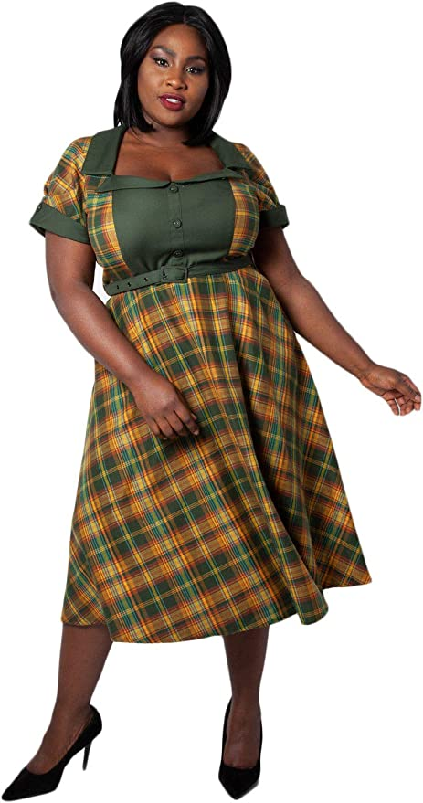 1950s Plus Size Dresses, Swing Dresses VOODOO VIXEN Womens Ella Tartan Flared Plus Size Dress Curve Ladies Plus Size Midi Dress A-line Side Pockets £66.00 AT vintagedancer.com