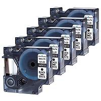5x Dymo D1 S0720530 Etiquettes 12mm x 7m Noir sur Blanc Standard Ruban Compatible avec Dymo LabelManager 160 210D 250 260P 280