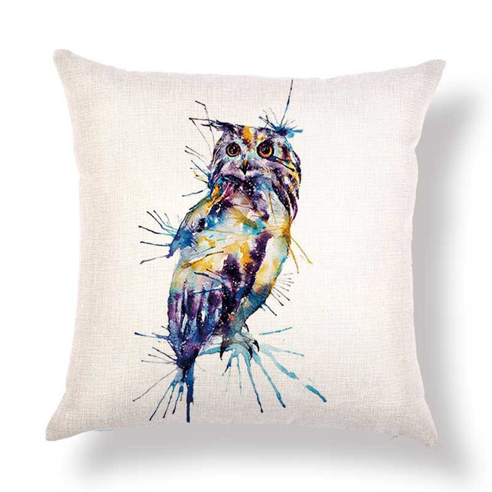 Hengjiang 120g Colored Animals Owl Cotton Pillow Cases Square Double Side Cushion Cover Throw Home Sofa Pillow Case Linen Cotton Decorative Pillow(#01)