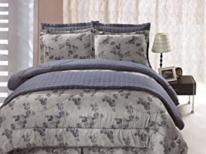 Legacy Decor Full/Queen Size 6 pc Microfiber, Reversible Floral Print Comforter Set, Quilt Included