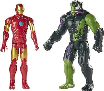 "Marvel Titan Hero Series Spider-Man Maximum Venom Iron Man vs Venomized Hulk 12/"""