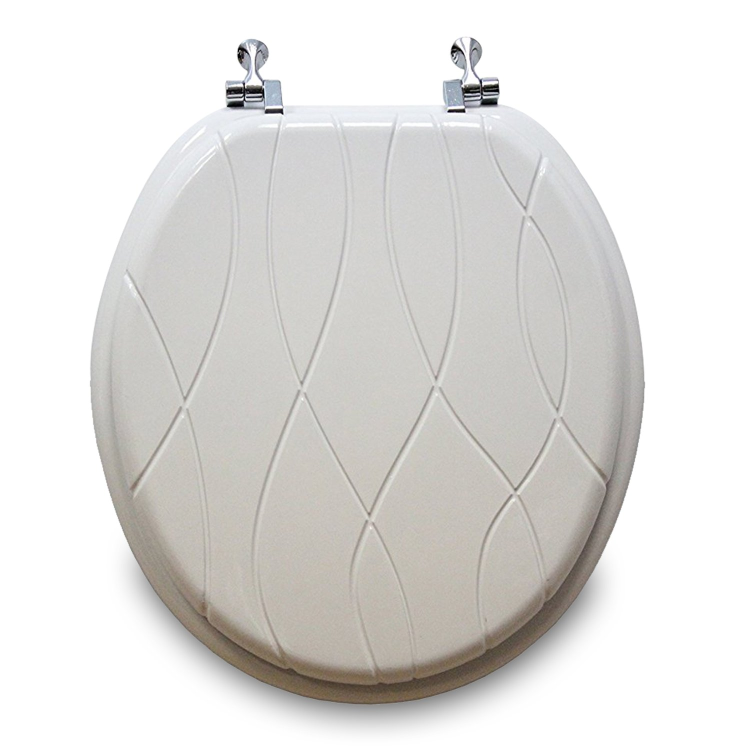Trimmer Engraved Criss Cross Design Wood Toilet Seat, White.
