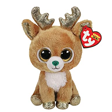 Claire s Girl s Ty Beanie Boo Medium Glitzy the Reindeer Soft Toy Brown d5aad2f5ccd6