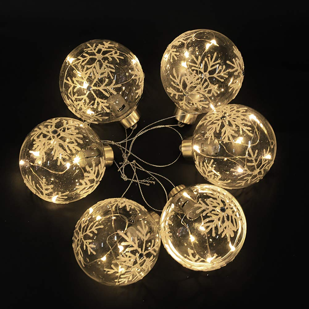 6 x Christmas Tree Baubles Balls Hanging Glass Baubles with Warm White LED Lights for Xmas Tree Holiday Party Festival Decoration (8cm) Warmiehomy