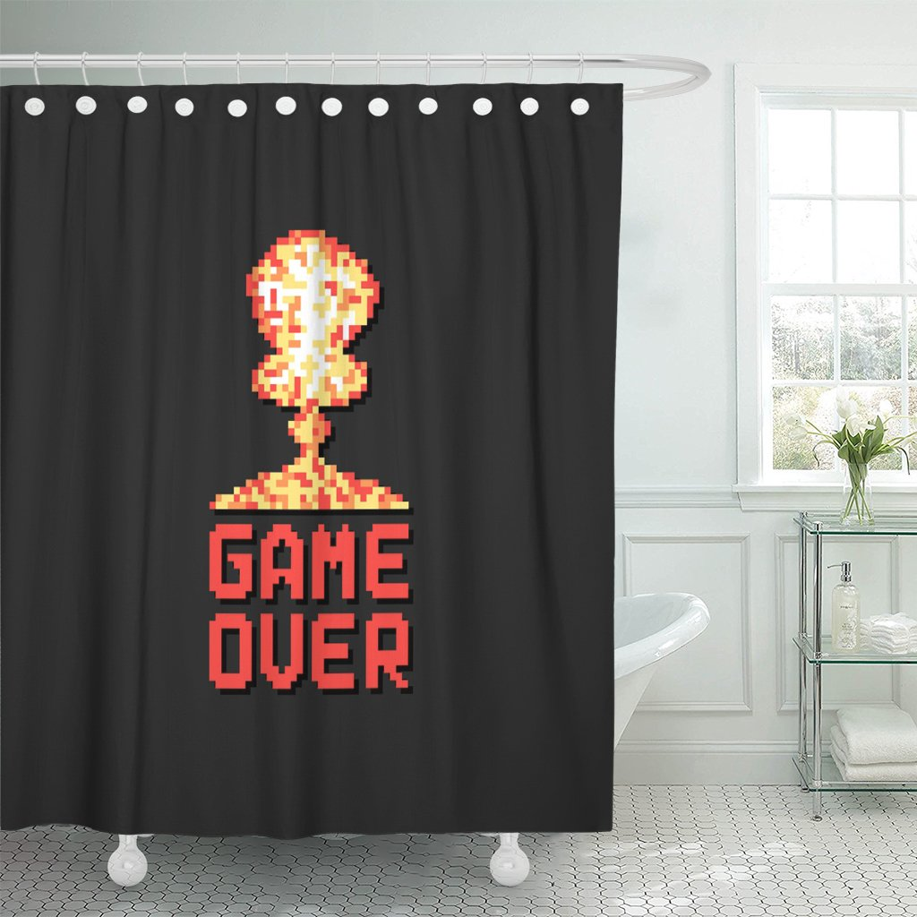 TOMPOP Shower Curtain Game Over Pixel Explosion of Level Final in Virtual Waterproof Polyester Fabric 72 x 72 Inches Set with Hooks