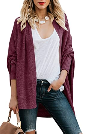 cfe974f23 Inorin Womens Open Front Cardigans Dolman Long Sleeve Knit Lightweight  Oversized Fall Sweaters at Amazon Women s Clothing store