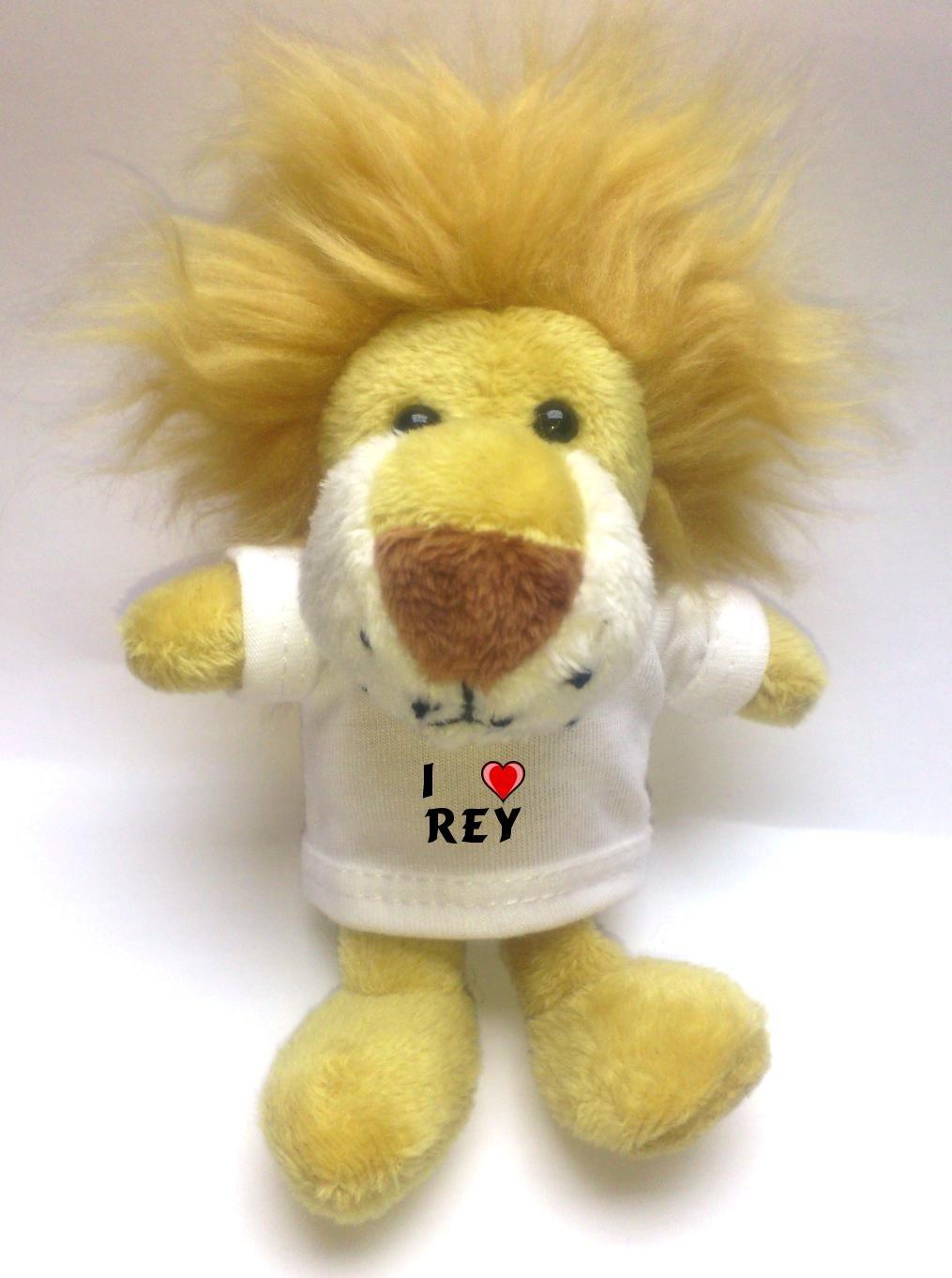 León de peluche (llavero) con Amo Rey en la camiseta (nombre ...