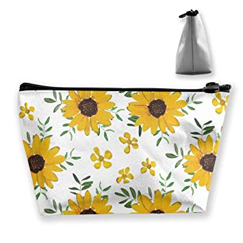 8f46c9d78ff7 Vintage Yellow Sunflower Makeup Case Organizer Portable Gift for Girls  Women Large Capacity Travel...
