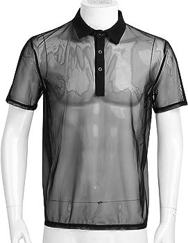 CHICTRY Camiseta de Manga Corta para Hombre Transparente Tops de Malla Camisa Ropa Interior Sexy Verano Clubwear (M-XL) Negro Medium: Amazon.es: Ropa y accesorios
