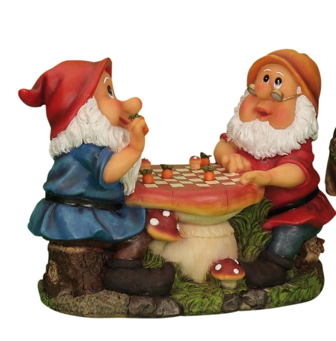 2 Garden Gnomes Playing Ladies' Chess Garden Ornament