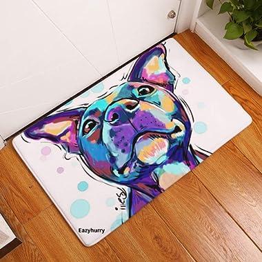 YJBear Thin Purple Puppy Dog Pattern Floor Mat Coral Fleece Home Decor Carpet Indoor Rectangle Doormat Kitchen Floor Runner 16  X 24