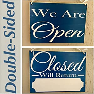 CELYCASY 10x8 We are Open Closed Business Hours Custom Wood Sign Salon Spa Store Office Boutique Welcome Front Door Plaque