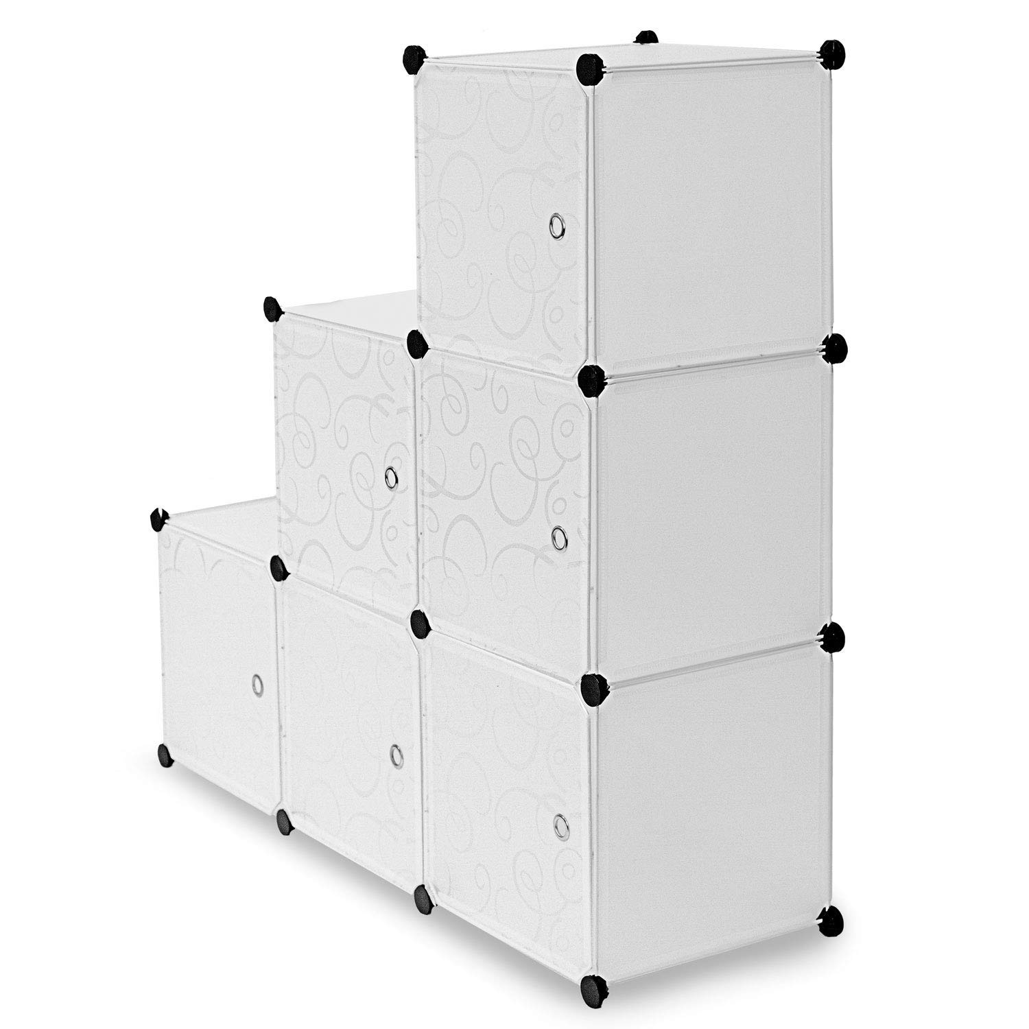 Work-It! Cube Storage Organizer - 6 Cubes | Stackable Portable Closet Organizer Shelves, Modular Cabinet with Doors and Hammer, Translucent White, 42'' W x 28'' H x 14'' D by Work-It!