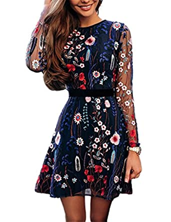 Boutiquefeel Women Floral Embroidery Casual Mesh Dress  Amazon.co.uk   Clothing 535eccf91