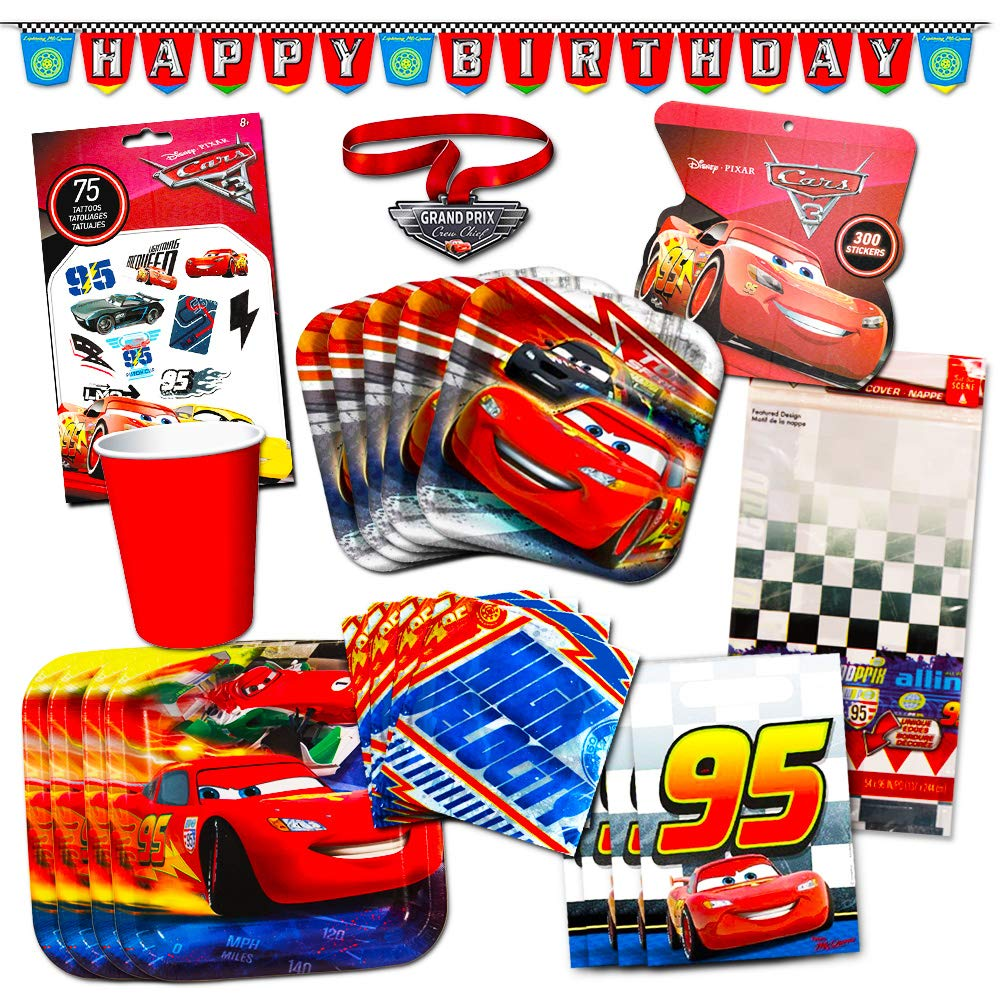 Amazon Disney Cars Party Supplies Ultimate Set 134 Pcs Birthday Decorations Favors Plates Cups Napkins Table Cover And More
