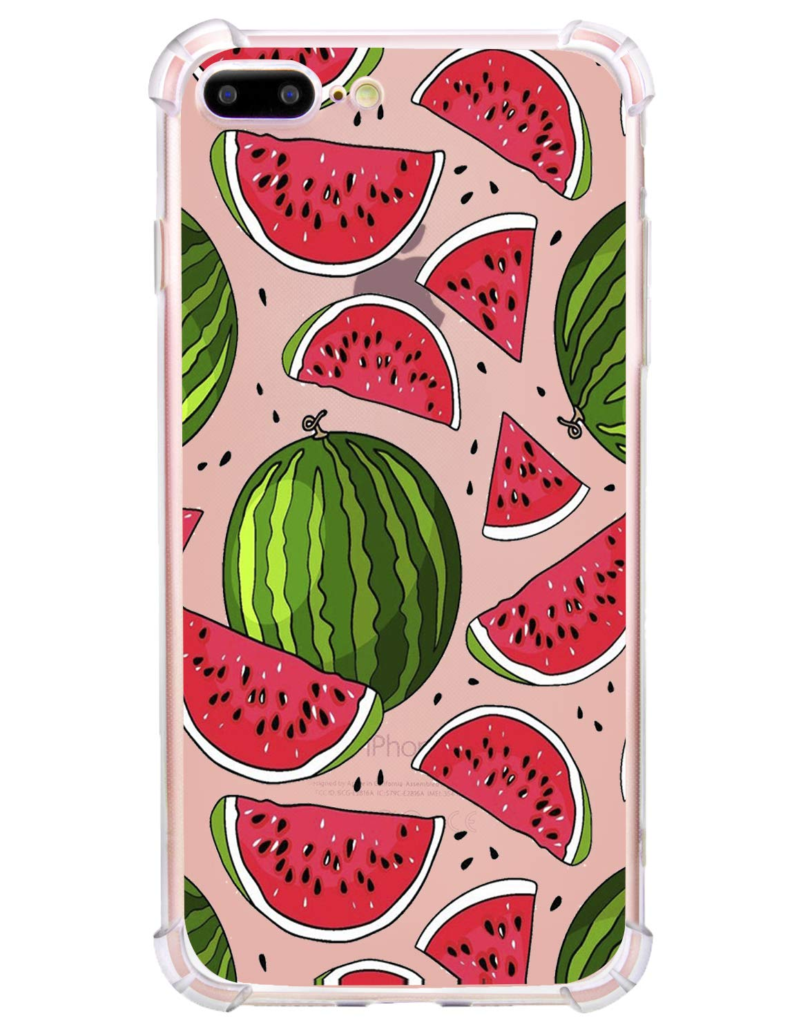 low priced 61793 86a8b Hepix iPhone 8 Plus Clear Case Watermelon iPhone 7 Plus Case Soft Flexible  TPU Protective iPhone Cases Fruits Print Bumper Phone Cover Case for iPhone  ...