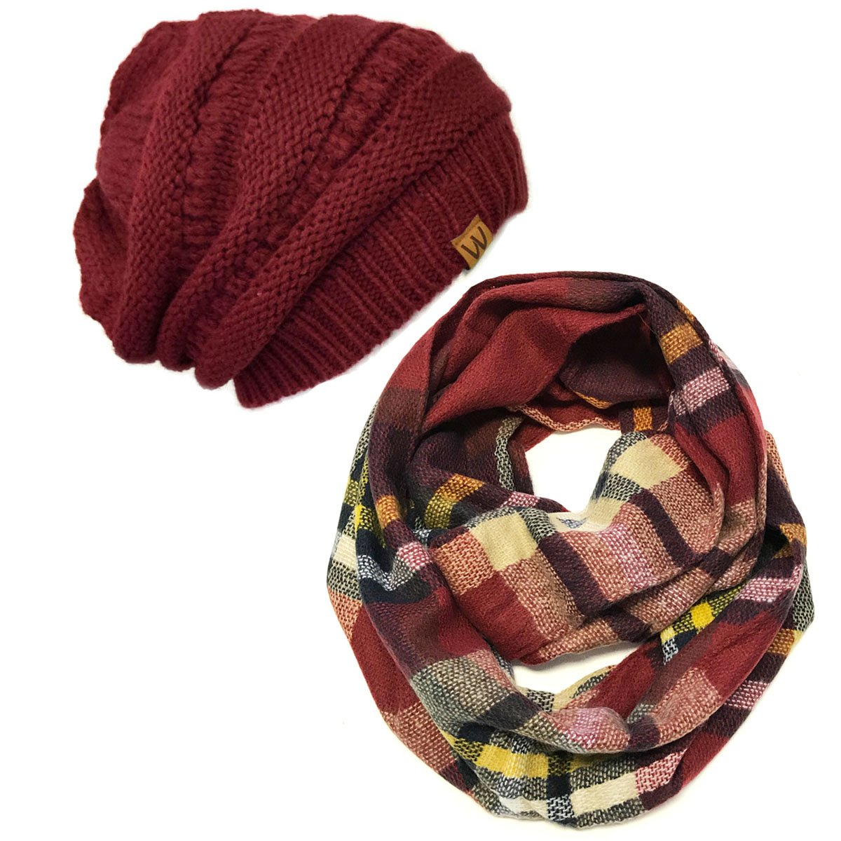 Bowbear Tartan Winter Infinity Scarf with Beanie, Multicolored + Wine Red