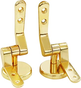 KAP22BF Gold Toilet Seat Hinges Round With Screws /& Fixings