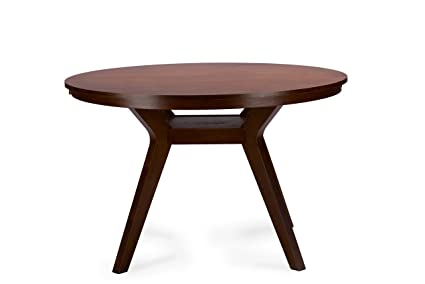 Baxton Studio Montreal Mid-Century Round Wood Dining Table Dark Walnut  sc 1 st  Amazon.com : dark wood kitchen table - hauntedcathouse.org