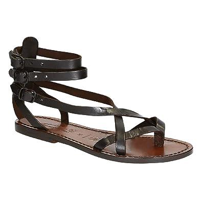 54c0b26f4d6 Gianluca - Handmade Women s Dark Brown Leather Manmade Flat Sandals Sandals  - Size  10 US