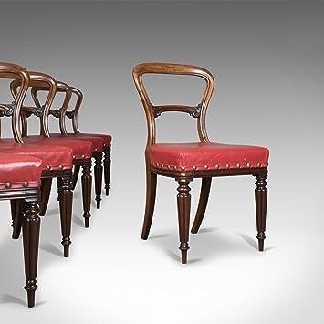 London Fine Antiques Juego de 6 sillas de Comedor Antiguas, de Cuero ...